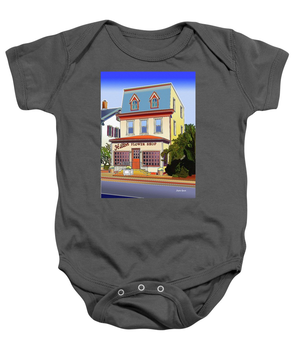 Catonsville Baby Onesie featuring the digital art Hilton Flower Shop by Stephen Younts