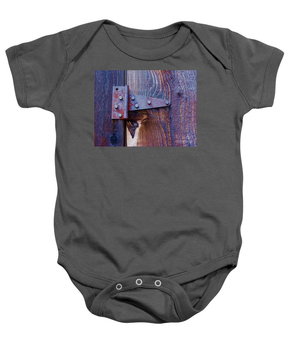 Hinge Baby Onesie featuring the photograph Hinged by Debbi Granruth