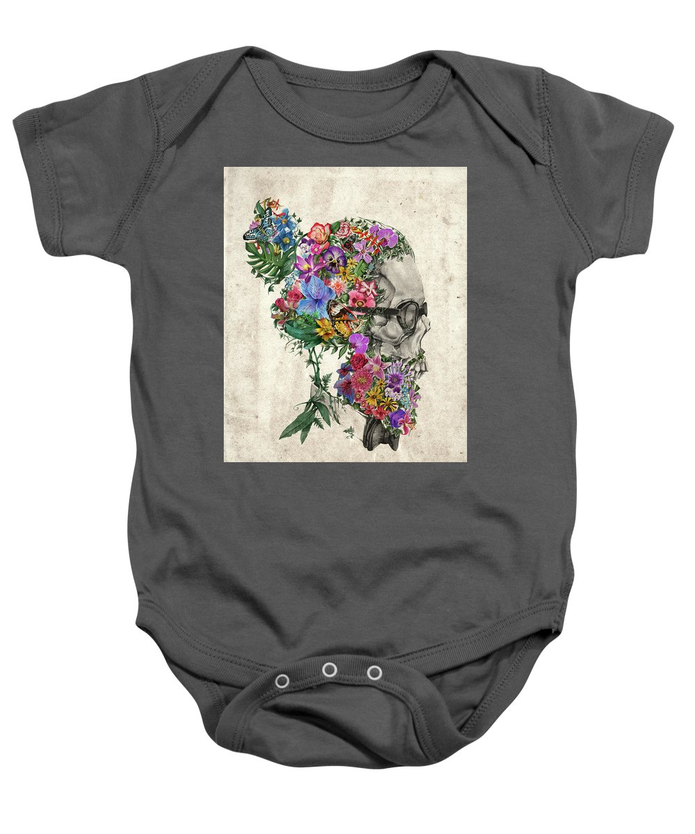 Skull Baby Onesie featuring the painting Hipster Floral Skull by Bekim Art