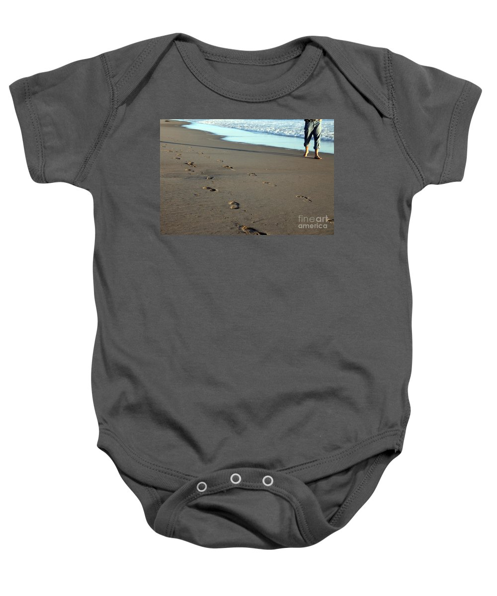 Sand Baby Onesie featuring the photograph His Path by Amanda Barcon