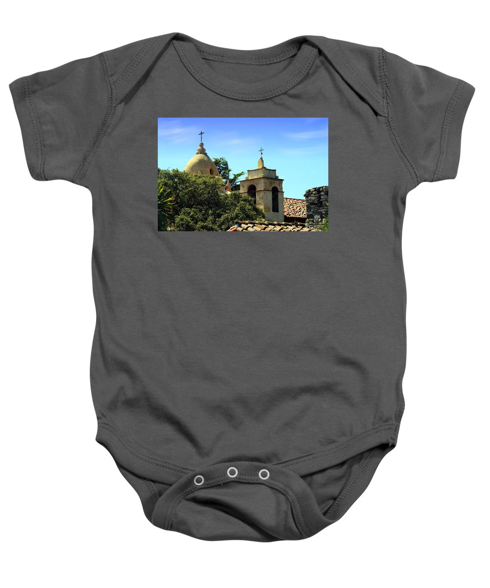 Mission Baby Onesie featuring the photograph Historic Carmel Mission by Joyce Dickens