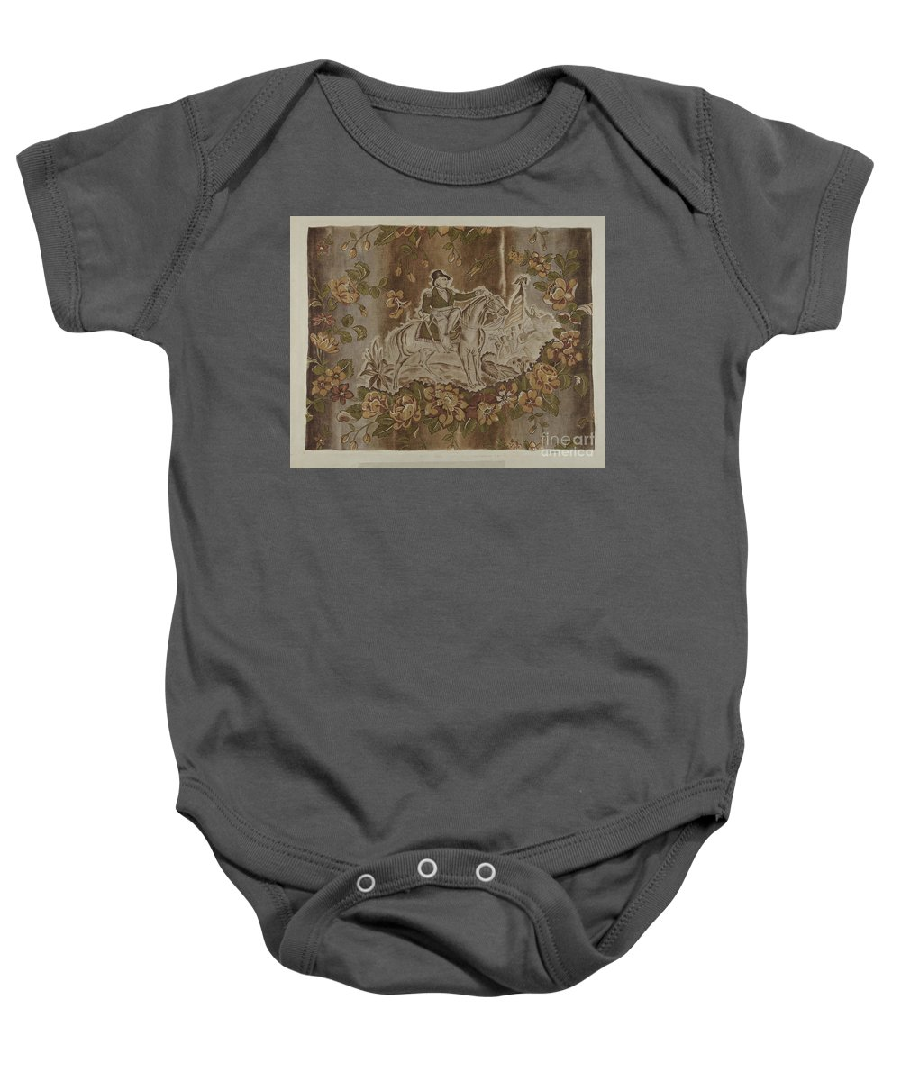 Baby Onesie featuring the drawing Historical Printed Textile by Esther Hansen