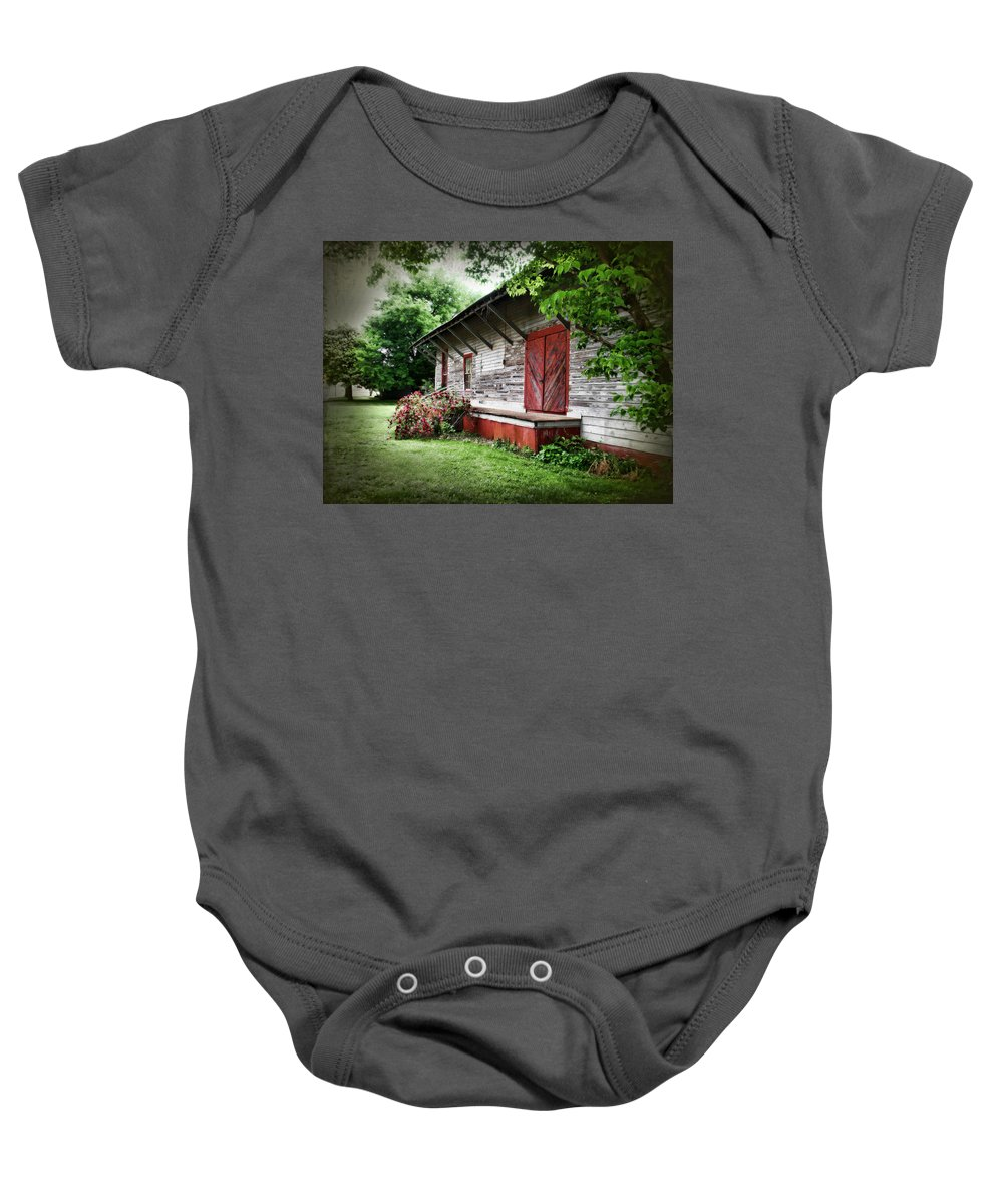 Train Baby Onesie featuring the photograph Historical Train Station In Belle Mina Alabama by Kathy Clark