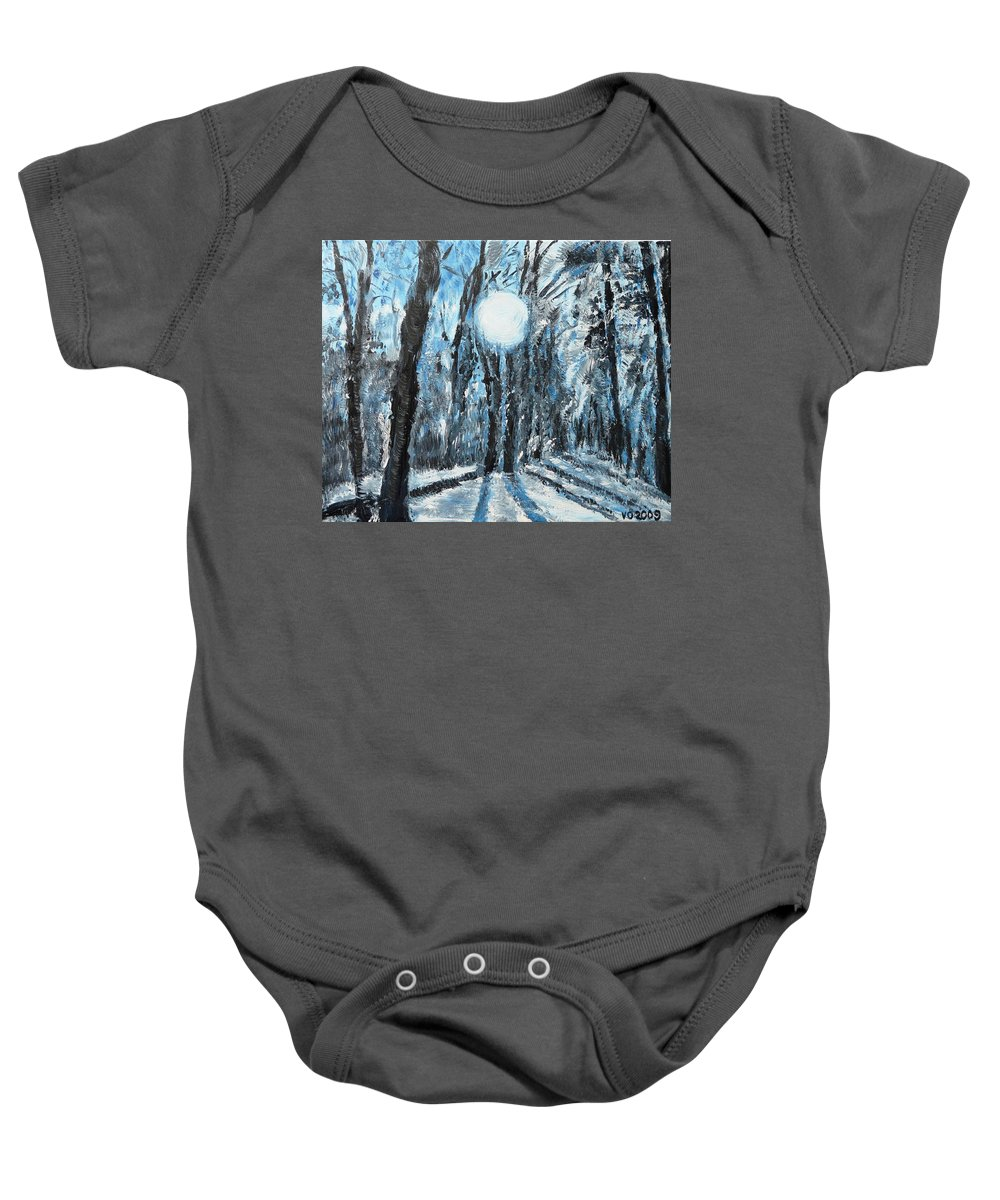 Landscape Baby Onesie featuring the painting Hochleite In January by Valerie Ornstein