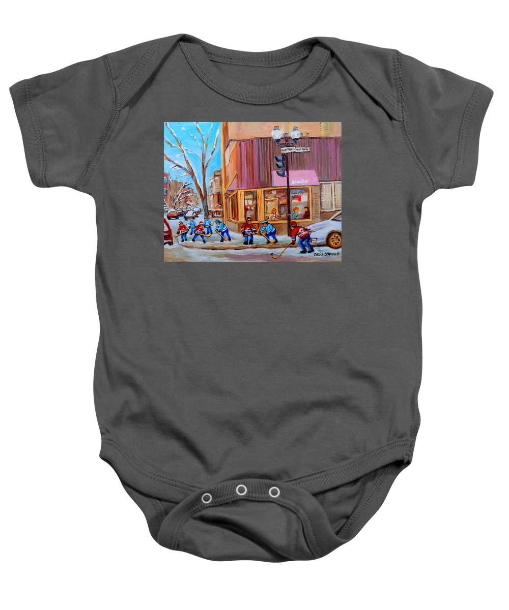 Beautys Luncheonette. Baby Onesie featuring the painting Hockey At Beautys Deli by Carole Spandau