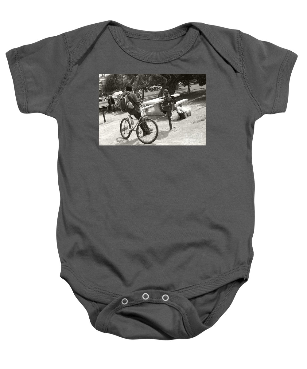 Homeless Baby Onesie featuring the photograph Holding Court by Heather Kirk