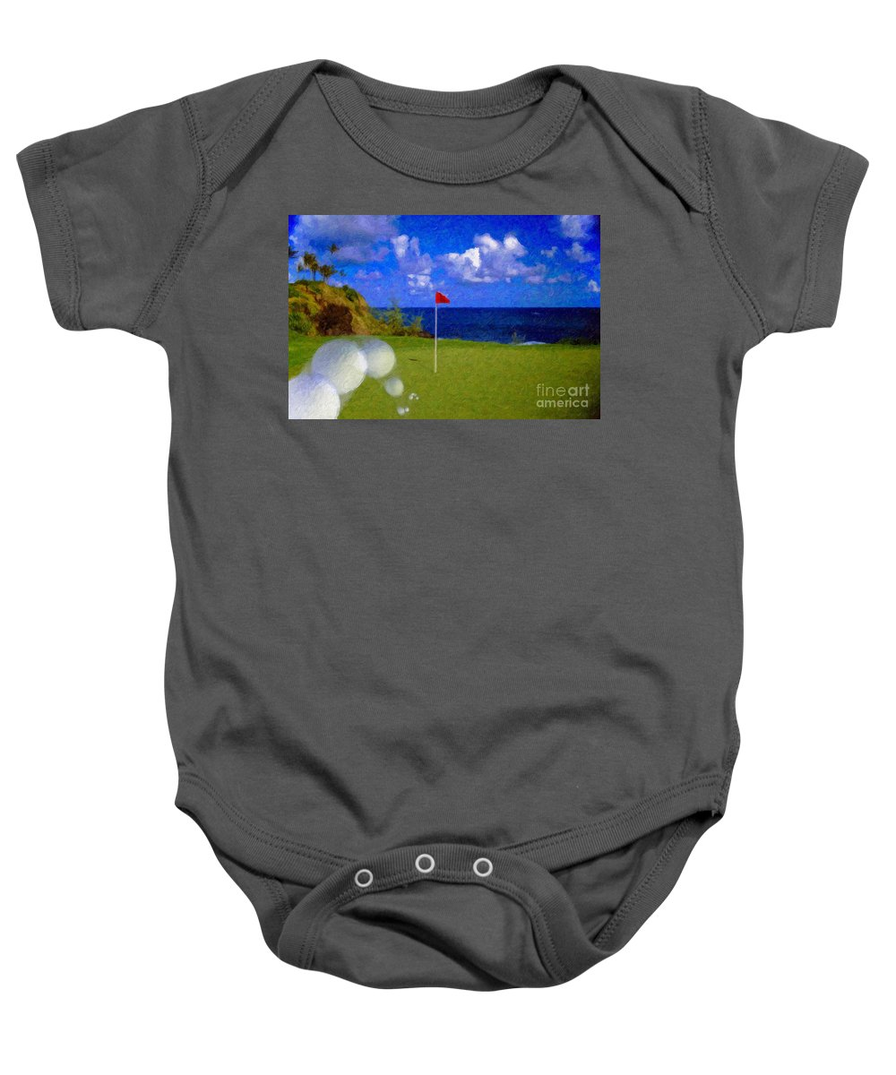 Hole In One 18th Green Ball Flag Green Ocean Palm Trees Baby Onesie featuring the photograph Fantastic 18th Green by David Zanzinger