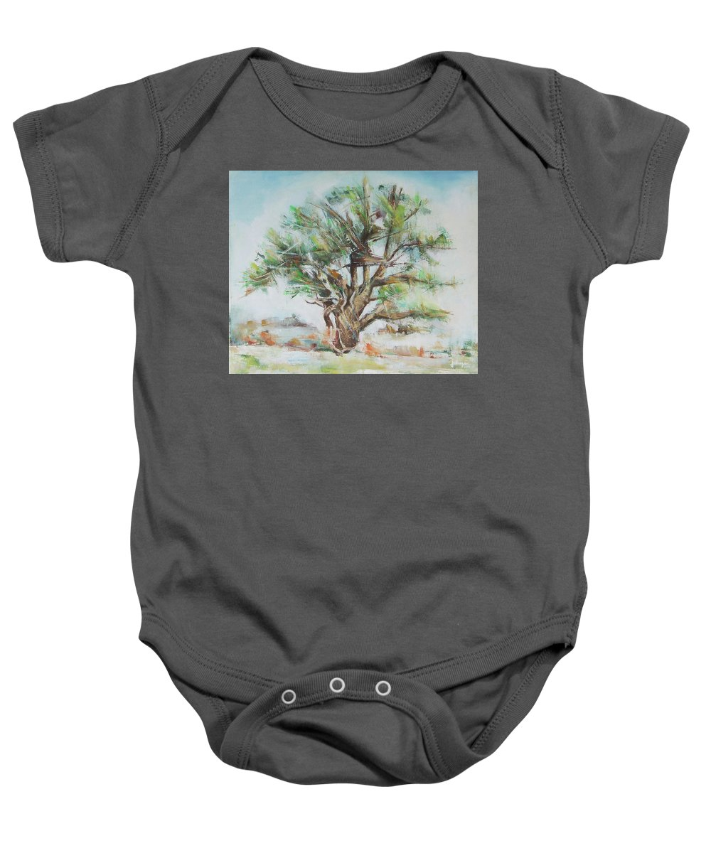 Painting Baby Onesie featuring the painting Holly Tree by Jovica Kostic