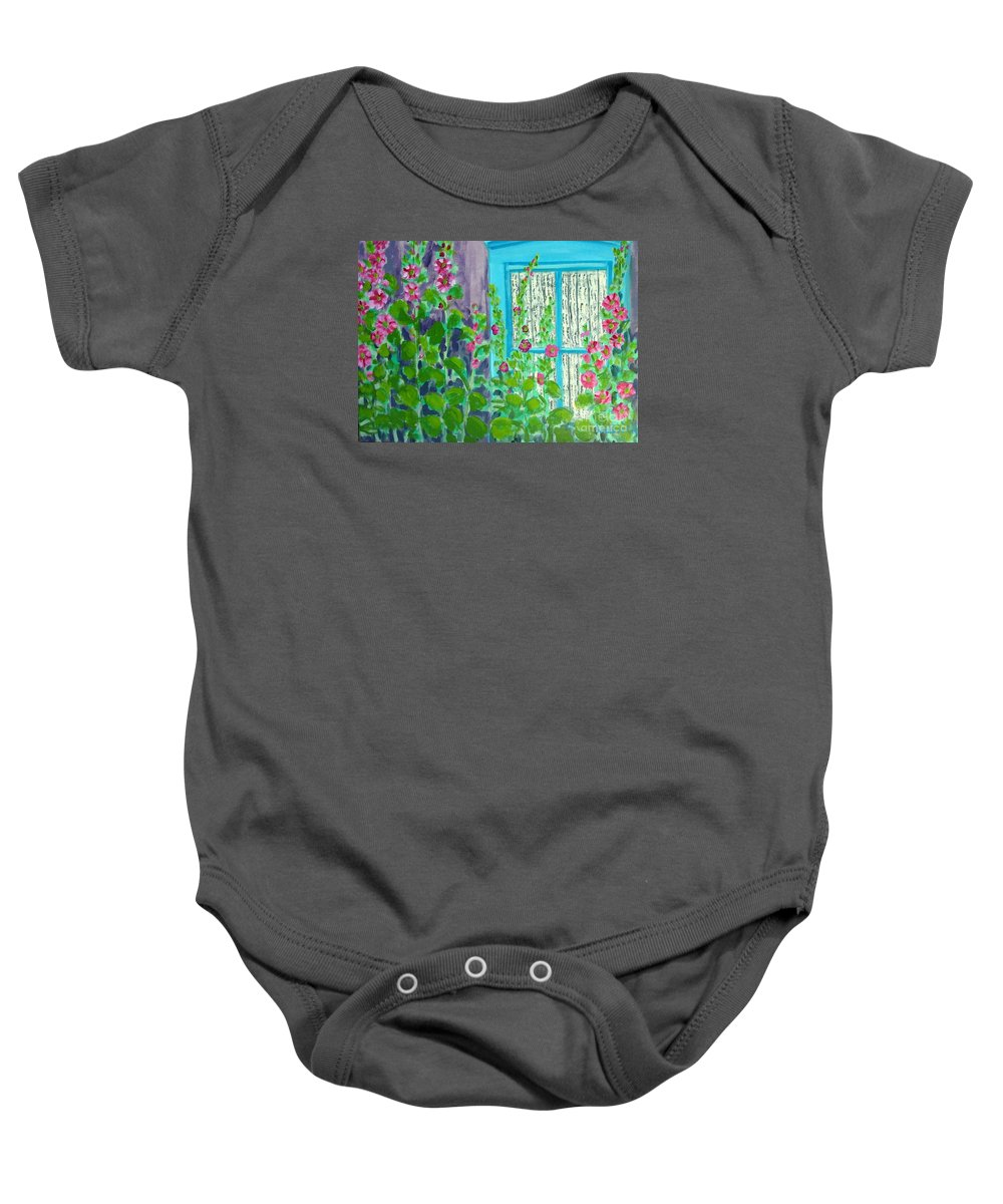 Hollyhocks Baby Onesie featuring the painting Hollyhock Surprise by Laurie Morgan