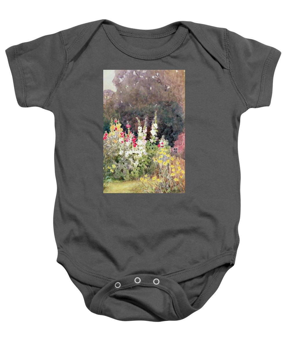 Hollyhocks Baby Onesie featuring the painting Hollyhocks by Helen Allingham