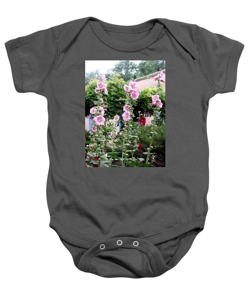 Flowers Baby Onesie featuring the photograph Hollyhocks Taos New Mexico by Wayne Potrafka
