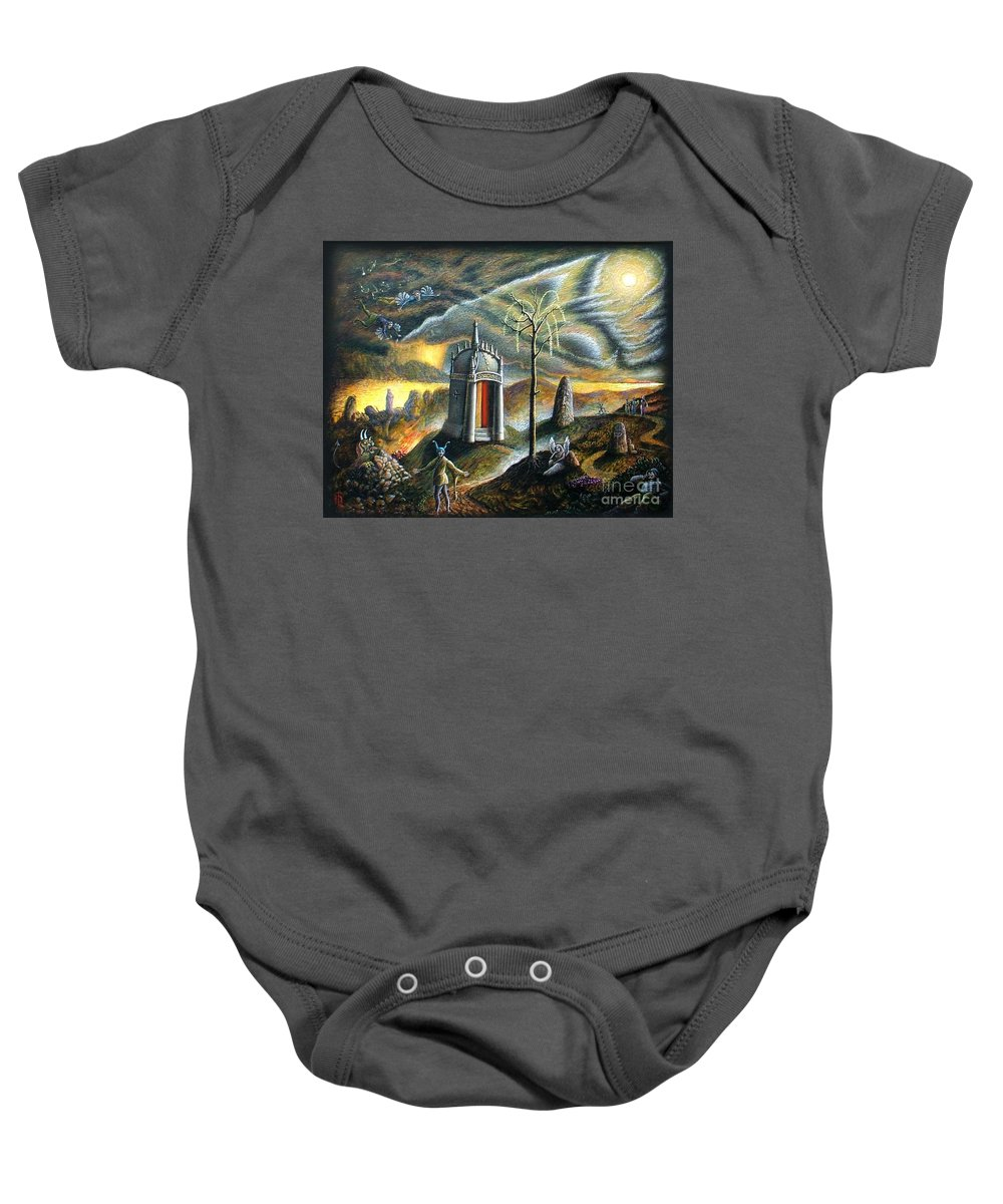 Figures Baby Onesie featuring the painting Holy Island by Tighe O'DonoghueRoss