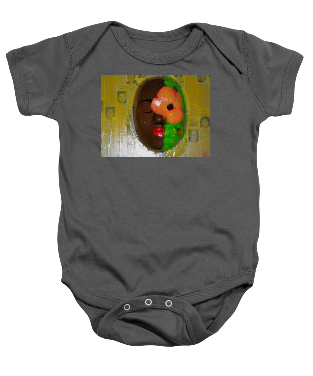 Mask Baby Onesie featuring the painting Homage Three by Laurette Escobar