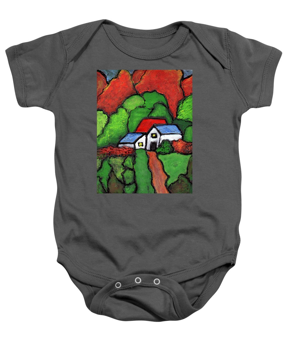 Rural Baby Onesie featuring the painting Home In The Country by Wayne Potrafka