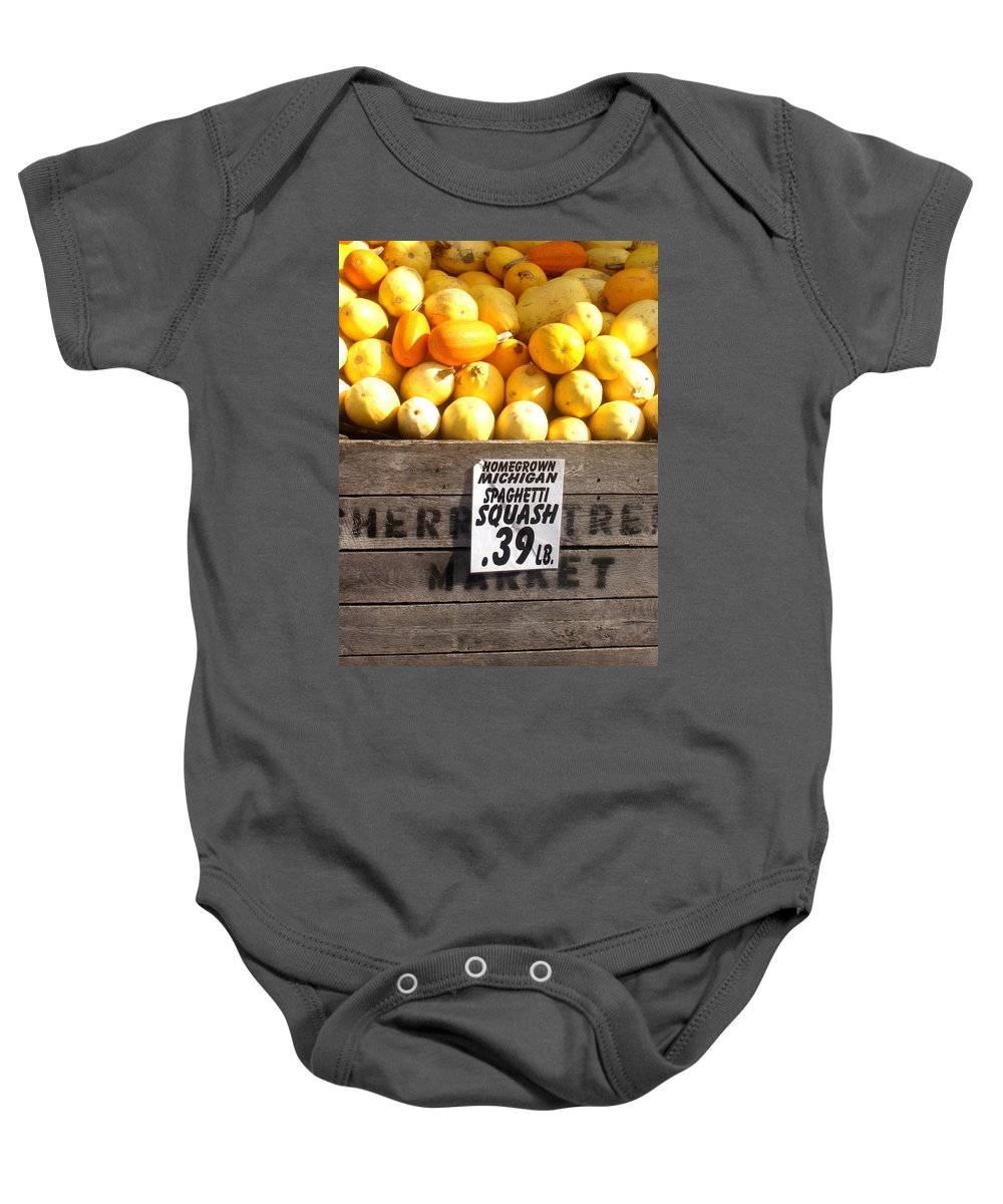 Michigan Baby Onesie featuring the photograph Homegrown Michigan Spaghetti Squash by Wayne Potrafka