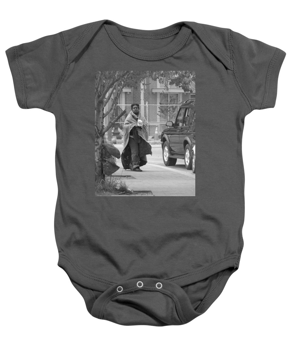 Homeless; Beg; Begging; Beggar; Poor; Destitute; Want; Need; Sad; Depressed Baby Onesie featuring the photograph Homeless by Francesa Miller