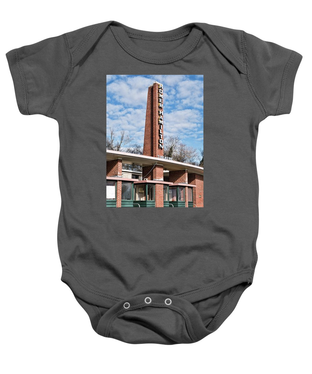 Knoxville Baby Onesie featuring the photograph Homer Hamilton Theatre Sign by Sharon Popek