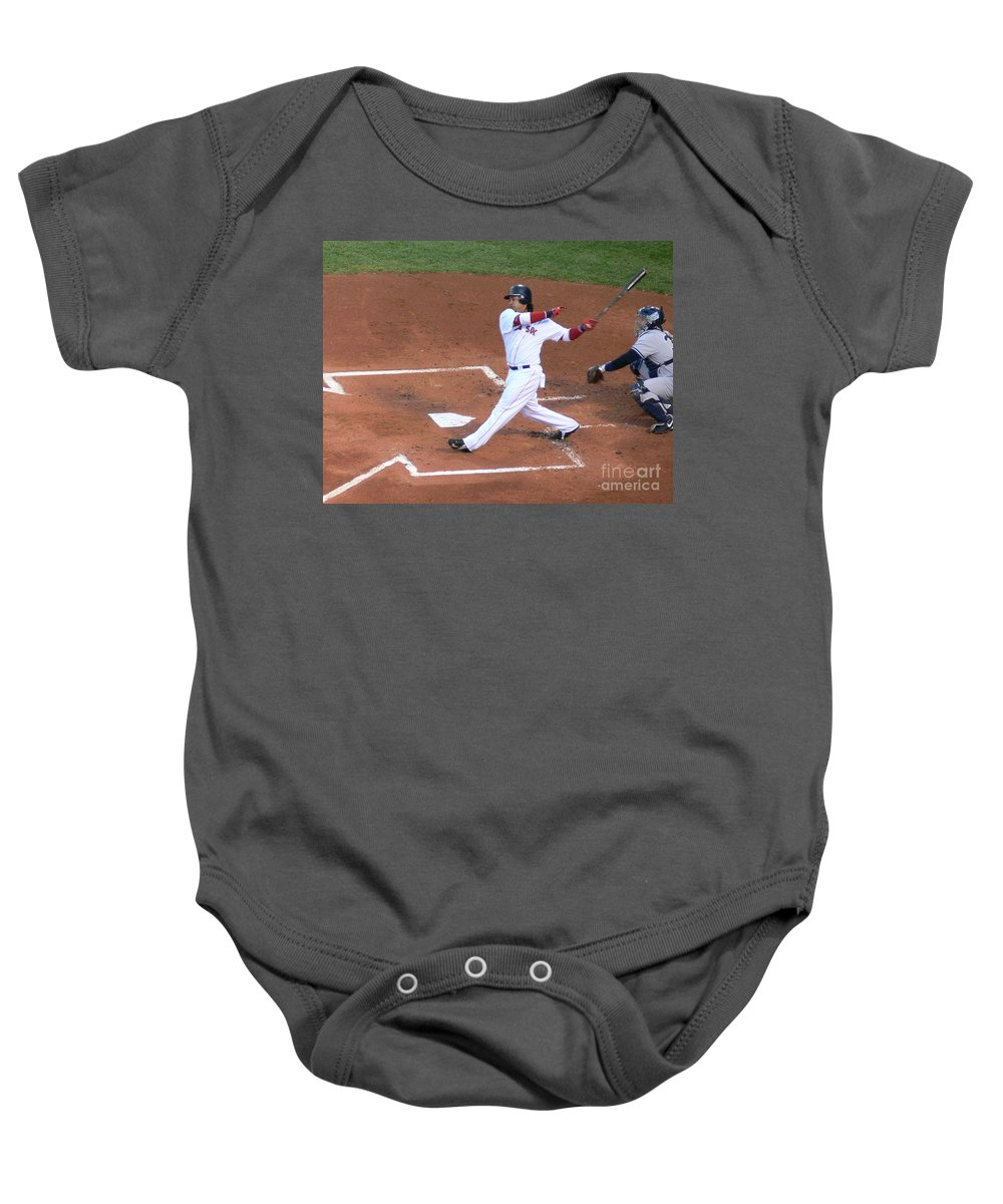Manny Baby Onesie featuring the photograph Homerun Swing by Kevin Fortier