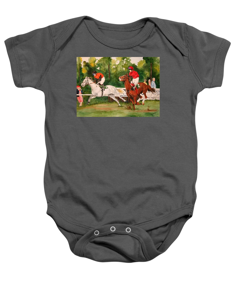 Racing Baby Onesie featuring the painting Homestretch by Jean Blackmer