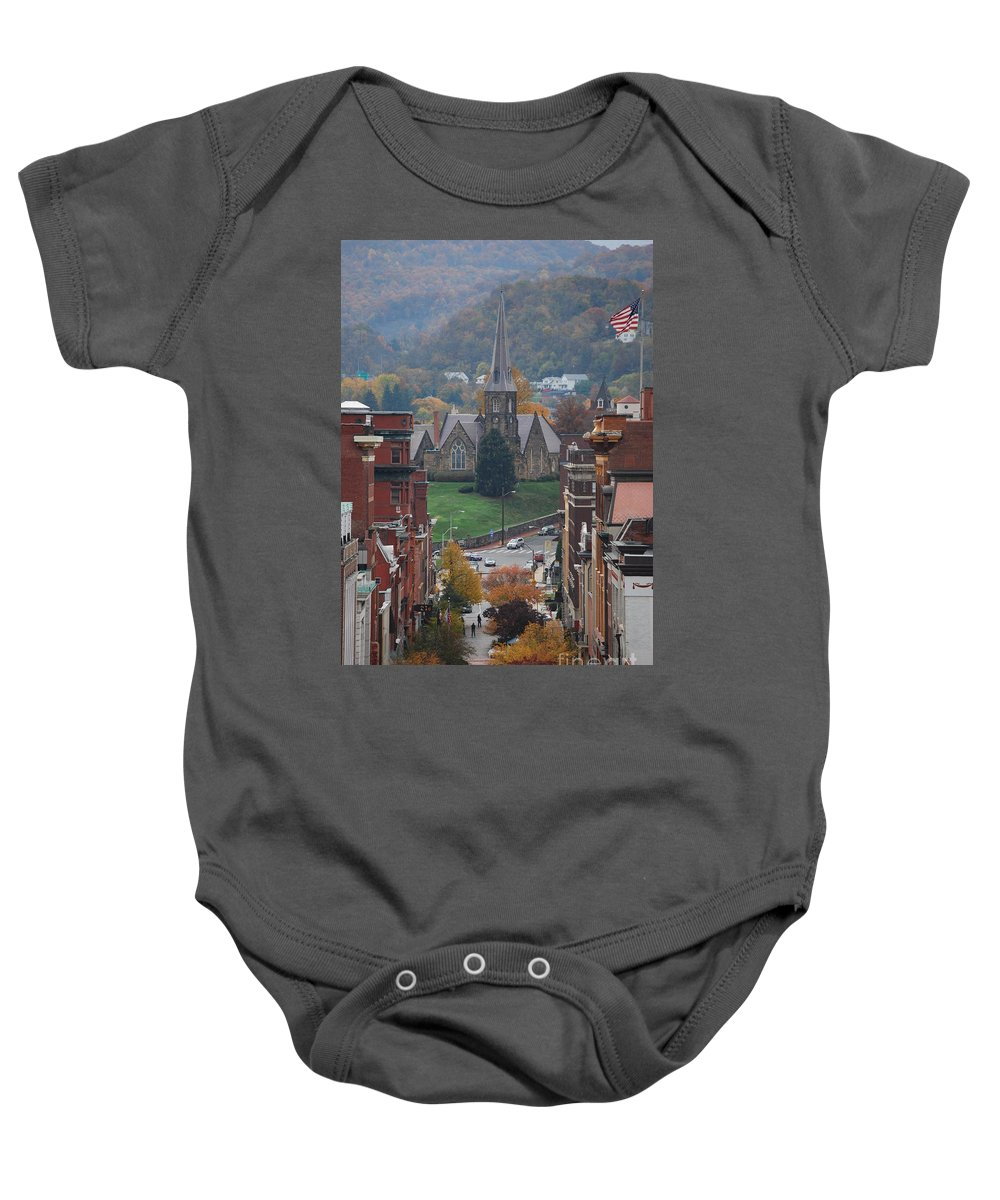 Cumberland Baby Onesie featuring the photograph My Hometown Cumberland, Maryland by Eric Liller