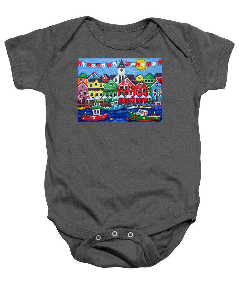 Boats Canada Colorful Docks Festival Fishing Flags Green Harbor Harbour Baby Onesie featuring the painting Hometown Festival by Lisa Lorenz