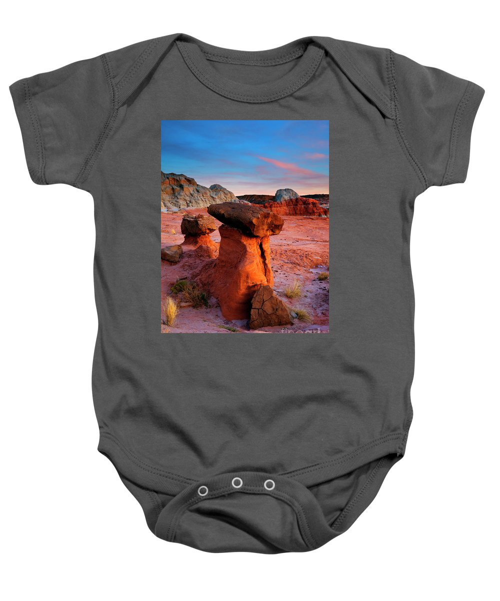 Hoodoo Baby Onesie featuring the photograph Hoodoo Sunset by Mike Dawson