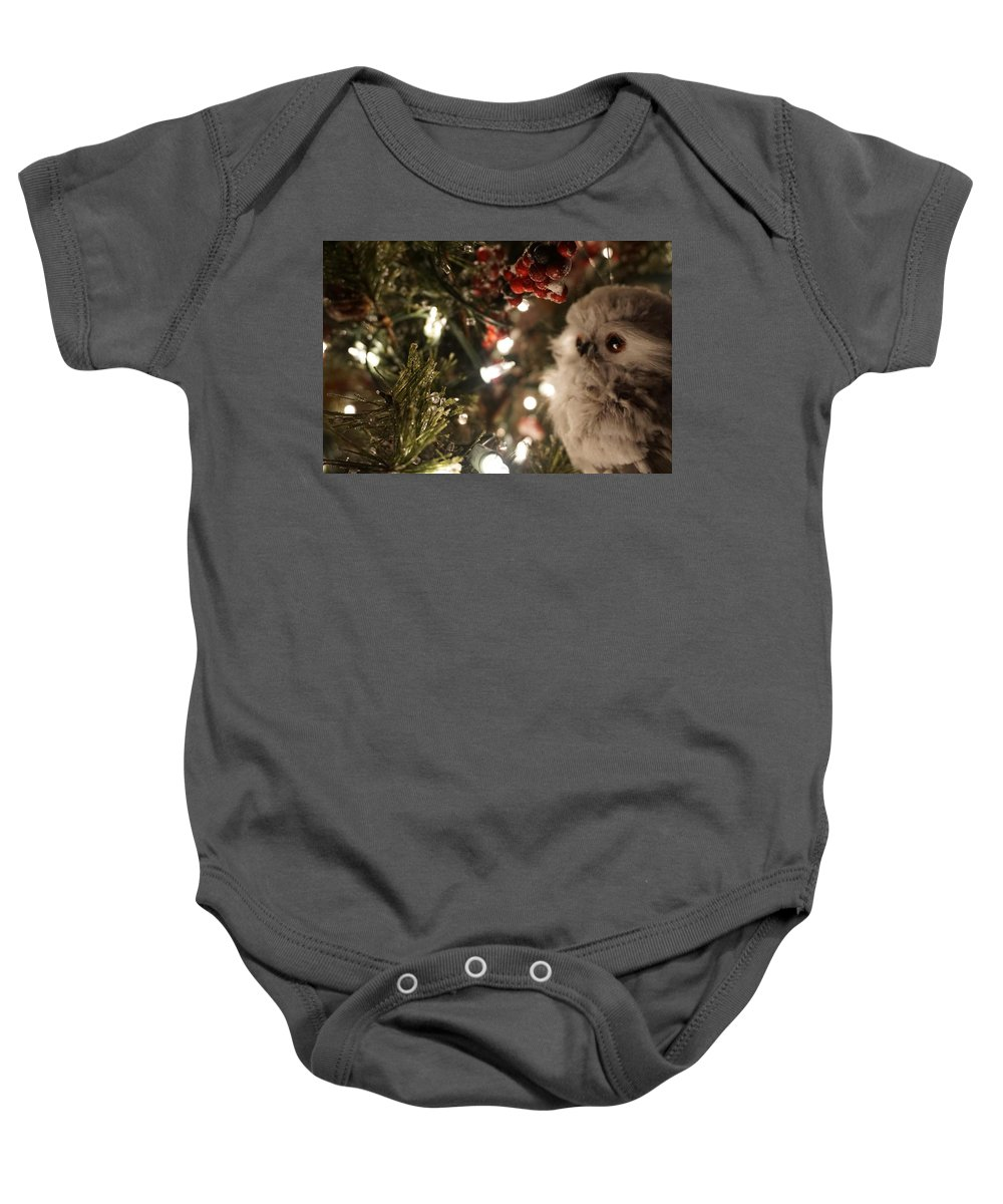 Winter Baby Onesie featuring the photograph Hooty Owl by Susan Brown
