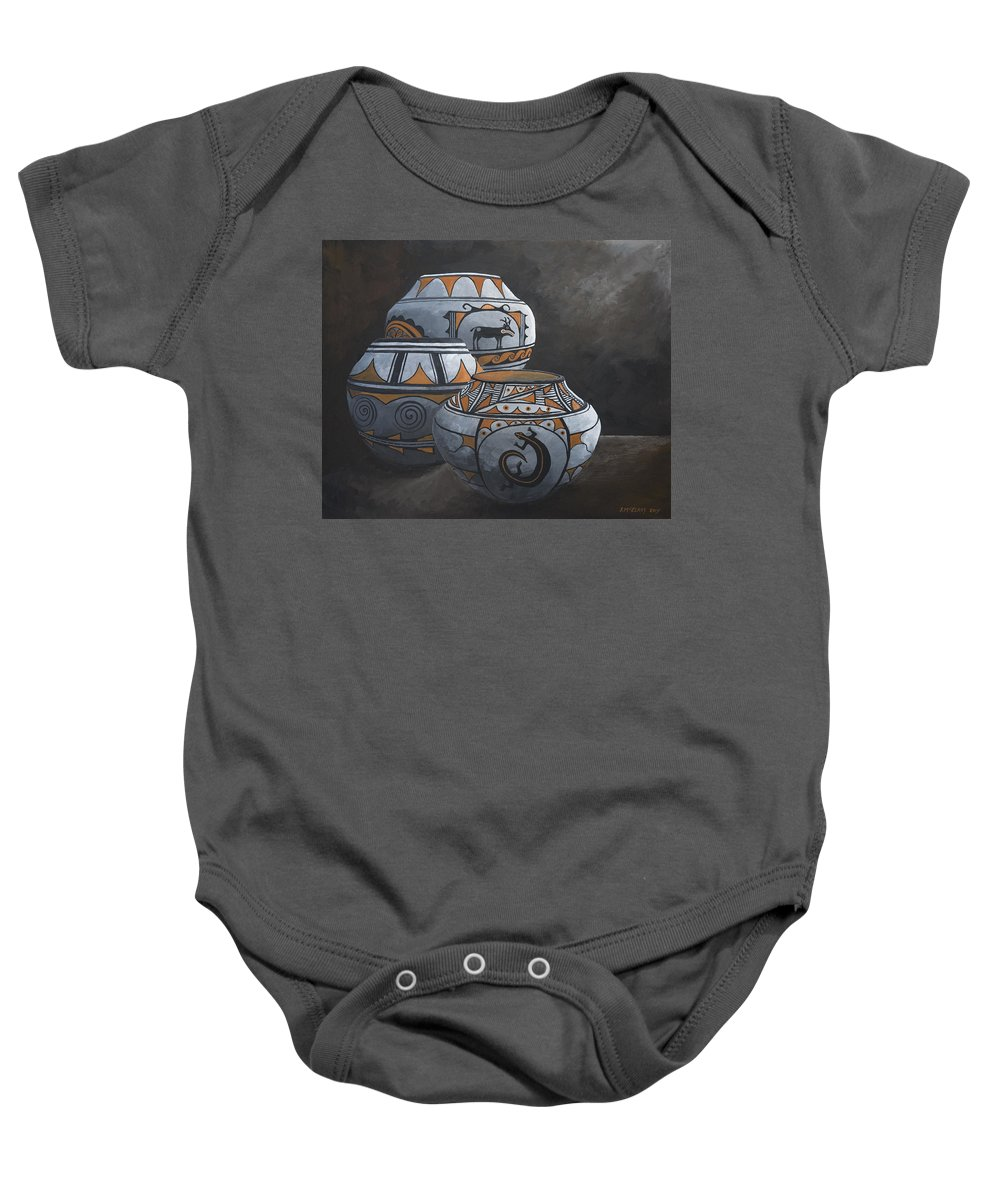 Hopi Baby Onesie featuring the painting Hopi Pots by Jerry McElroy