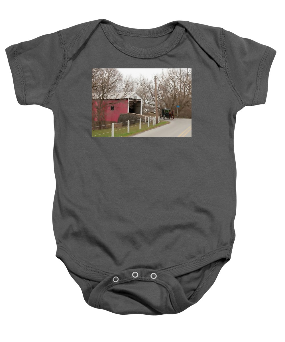 Bridge Baby Onesie featuring the photograph Horse Buggy And Covered Bridge by David Arment