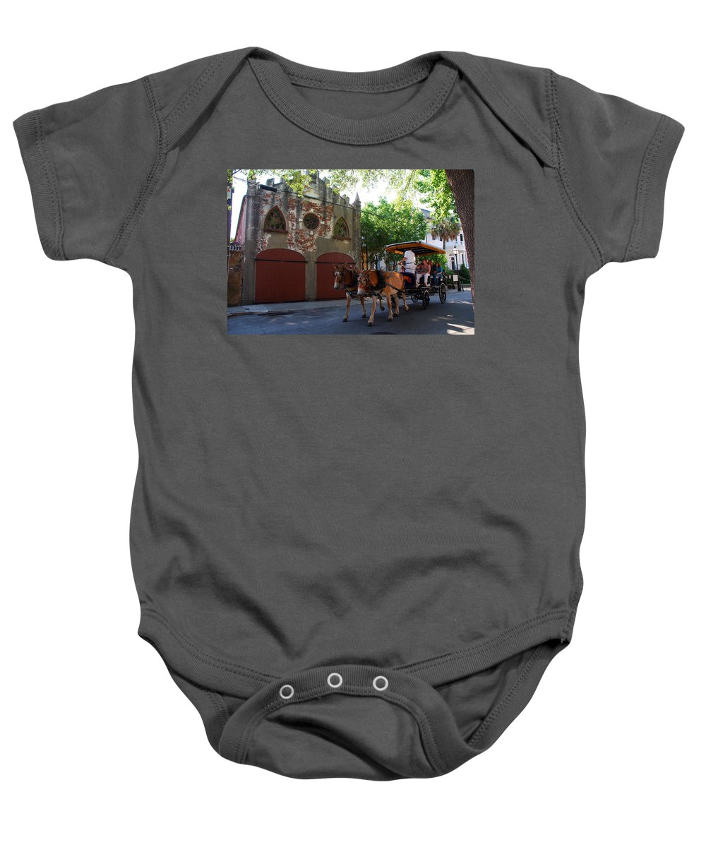Photography Baby Onesie featuring the photograph Horse Carriage At Kings Street by Susanne Van Hulst