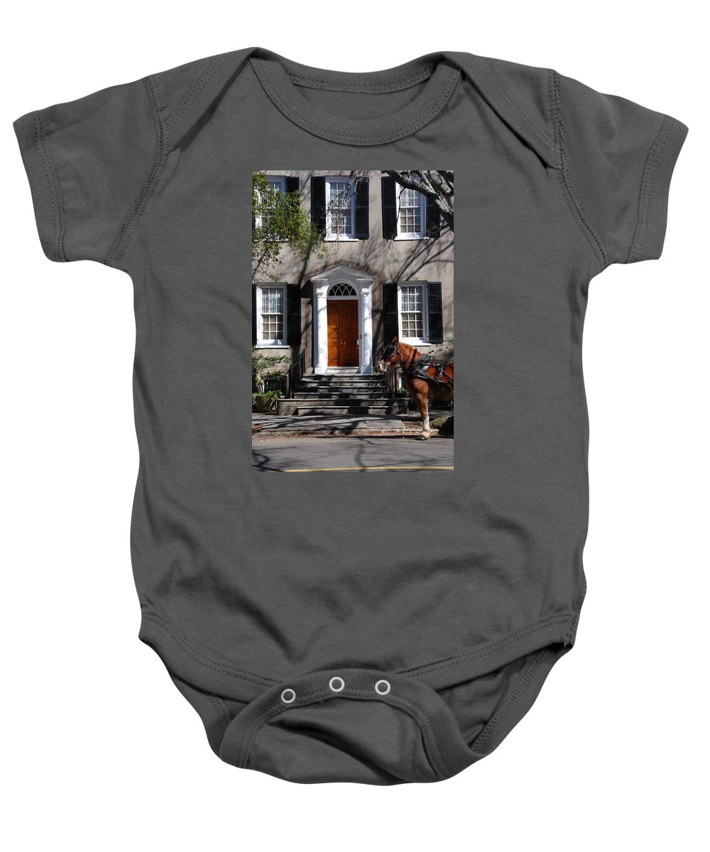 Photography Baby Onesie featuring the photograph Horse Carriage In Charleston by Susanne Van Hulst