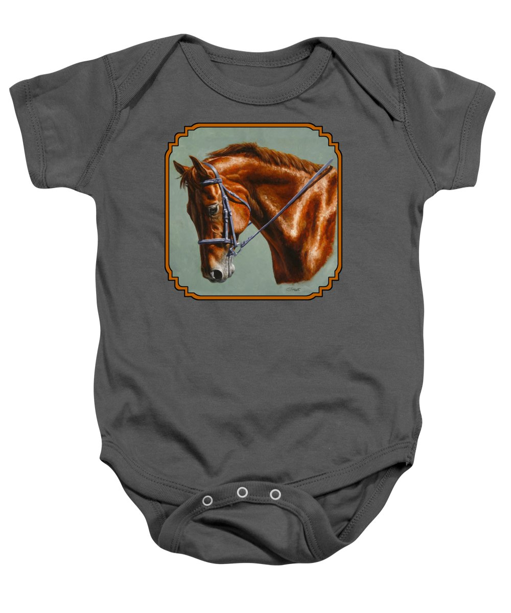 Horse Baby Onesie featuring the painting Horse Painting - Focus by Crista Forest
