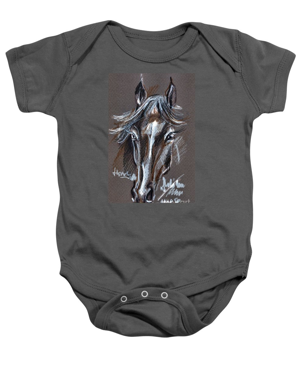 Crayons Drawing Baby Onesie featuring the drawing Horse Study by Daliana Pacuraru