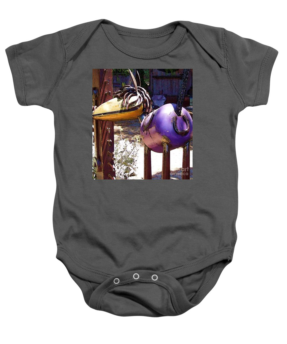 Sculpture Baby Onesie featuring the photograph Horse With No Name by Debbi Granruth