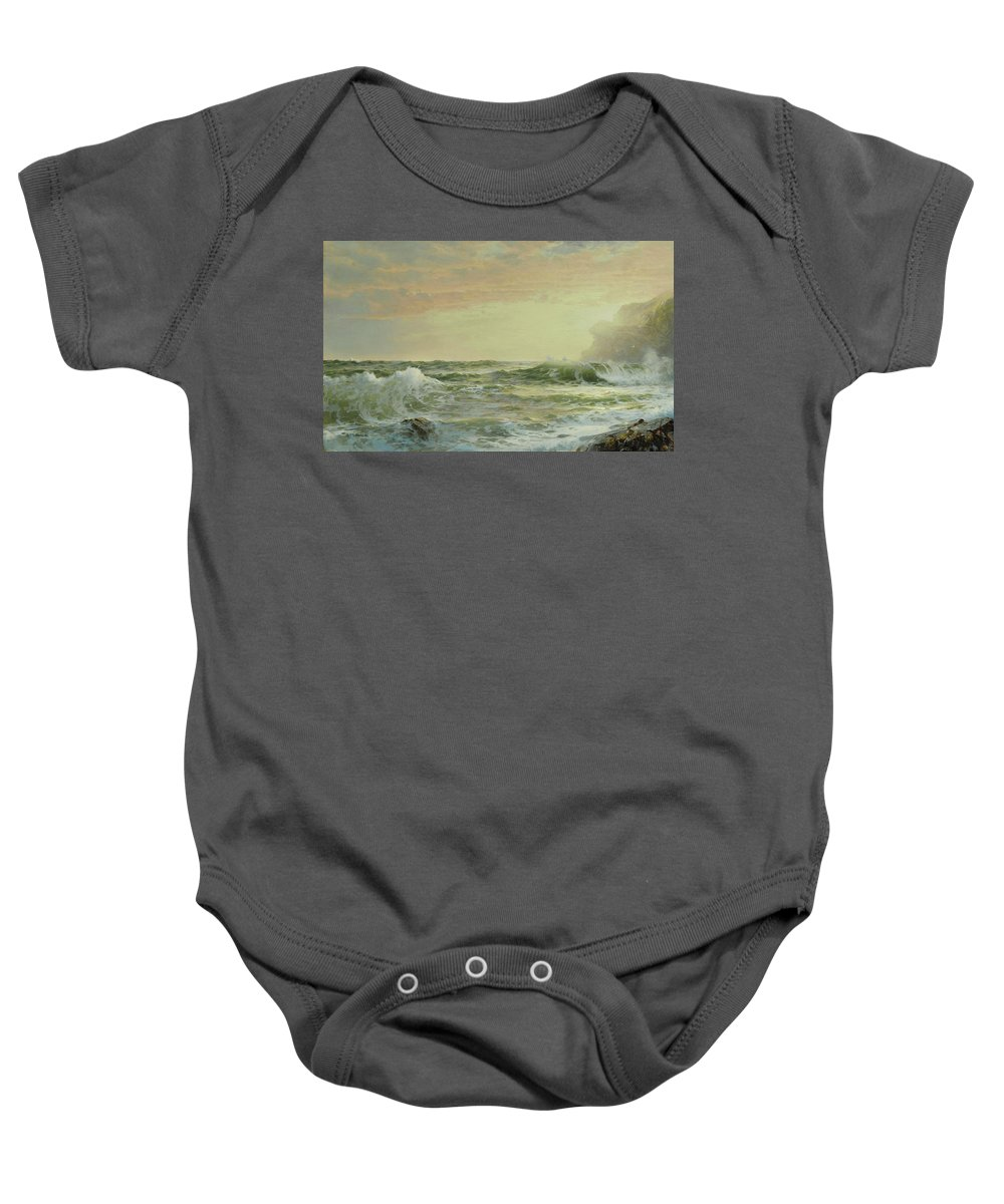 William Trost Richards 1833 - 1905 Twilight Baby Onesie featuring the painting Horsehead Rock by William Trost
