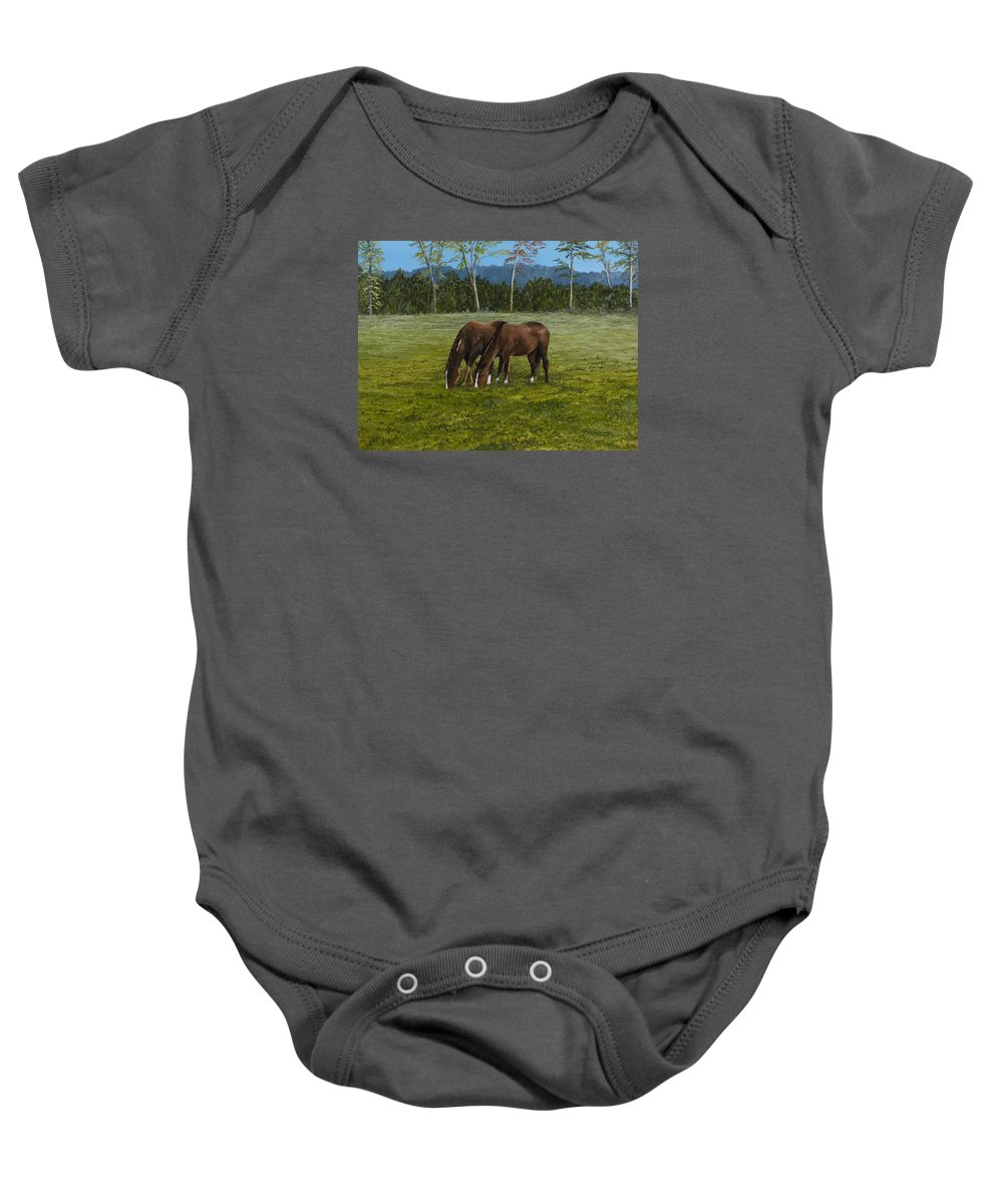 Sorrell Horses Paintings Baby Onesie featuring the painting Horses Of Romance by Mary Ann King