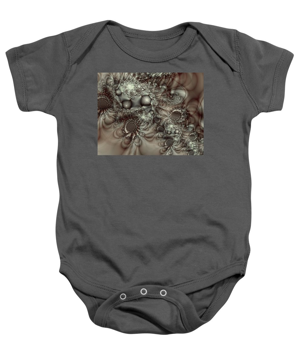 Green Baby Onesie featuring the digital art Hot Chocolate Possibilities by Casey Kotas