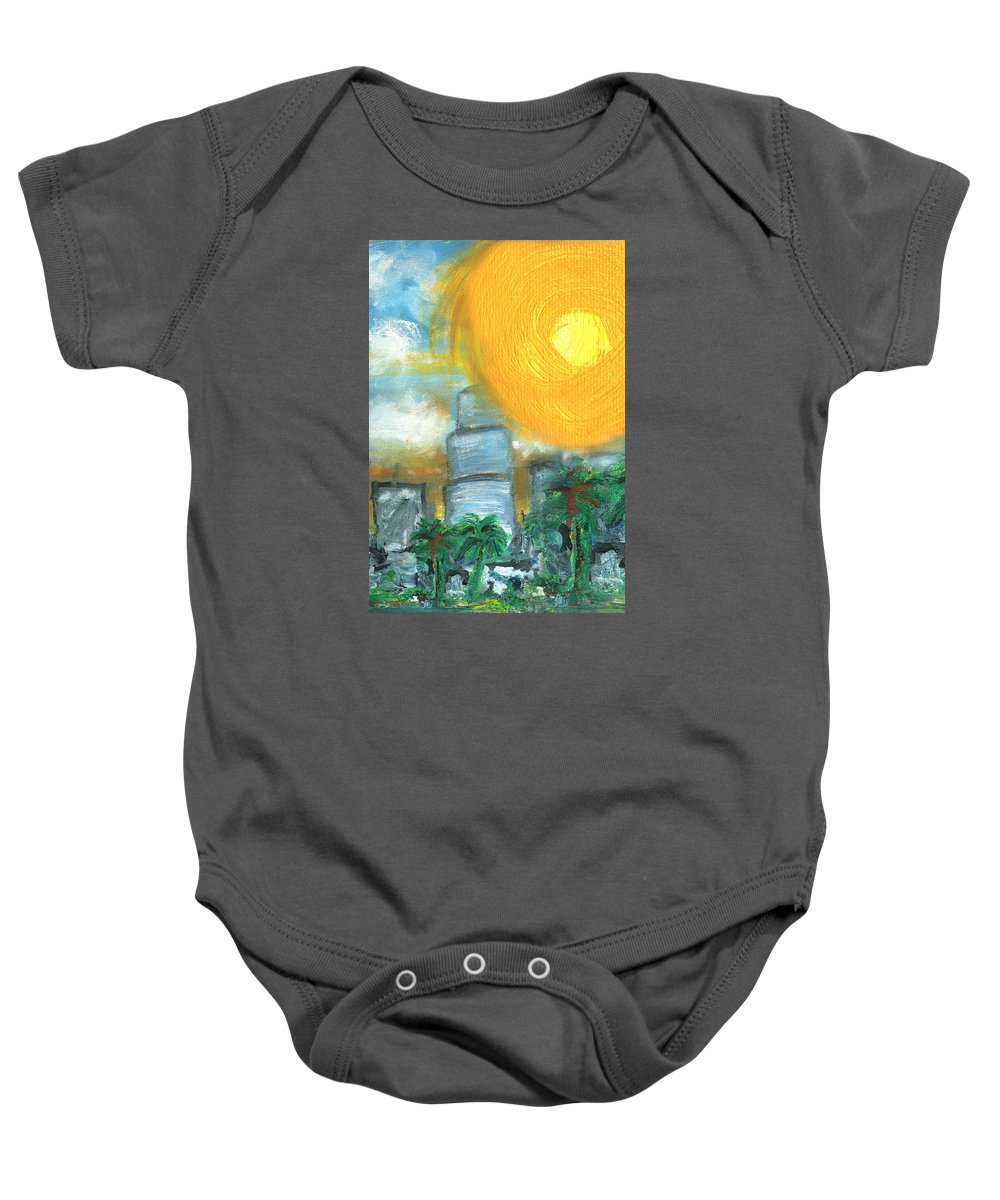 Miami Baby Onesie featuring the painting Hot Miami Sky by Jorge Delara