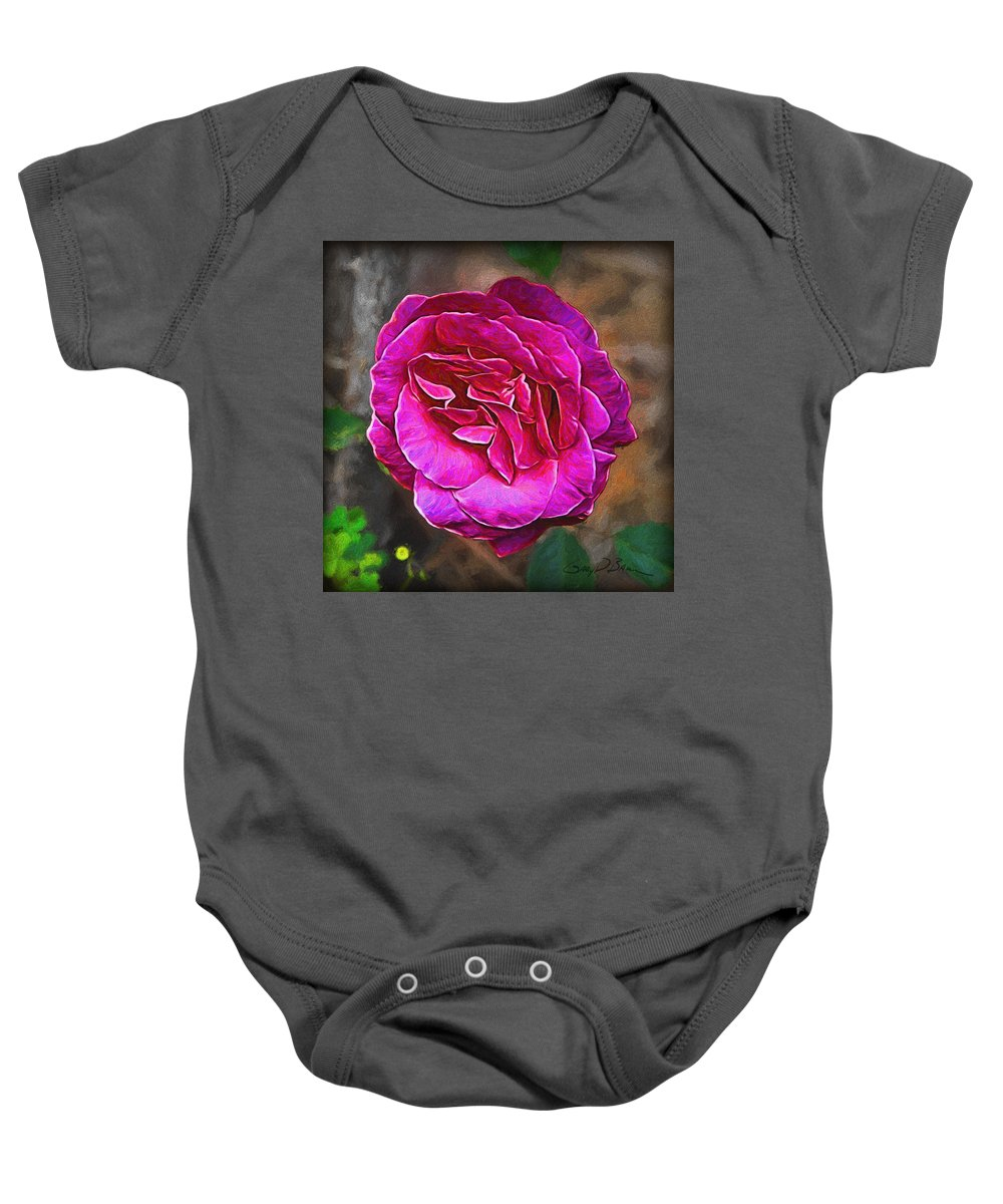 Flower Baby Onesie featuring the painting Hot Pink by Gary D Baker