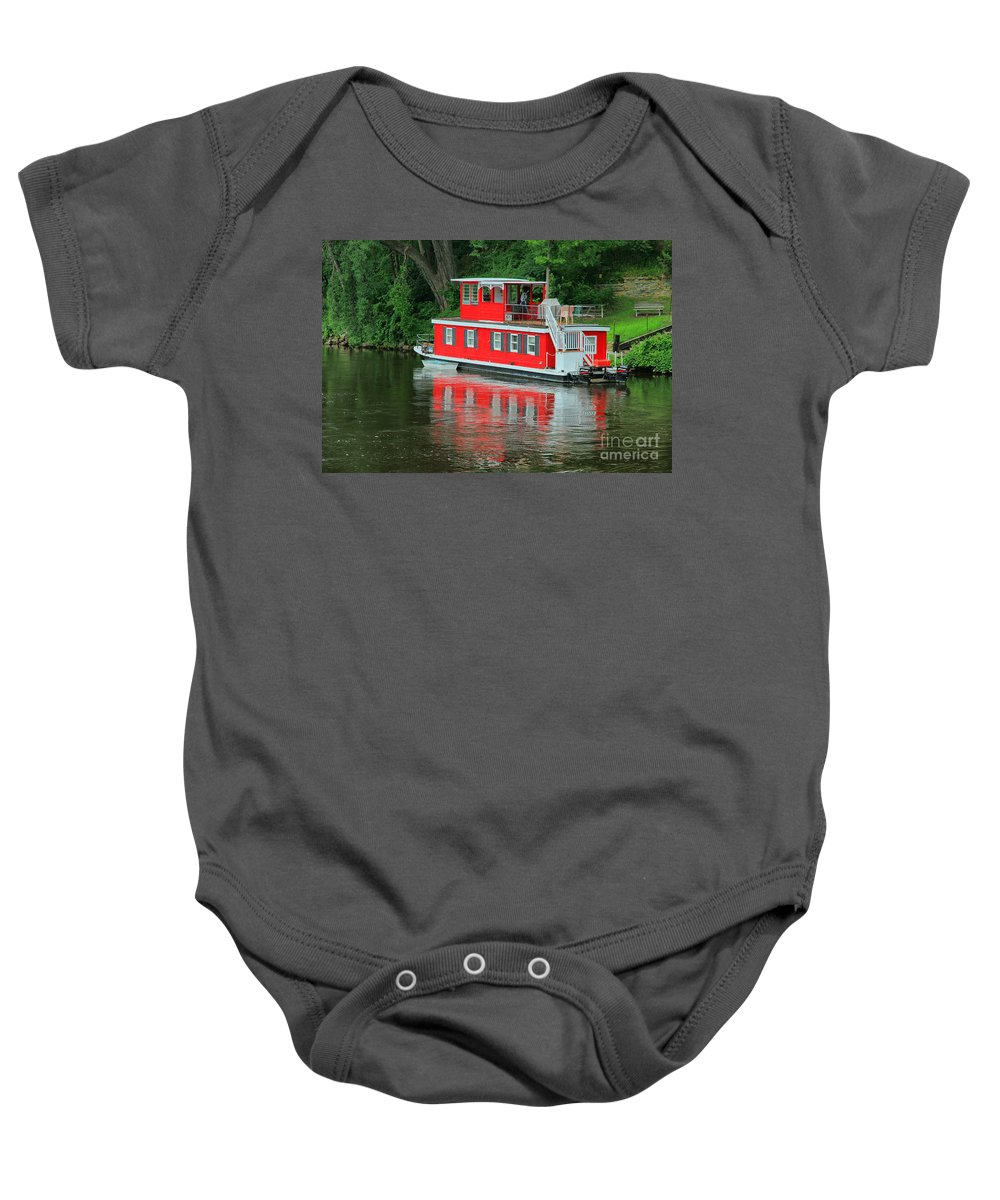 Boat Baby Onesie featuring the photograph Houseboat On The Mississippi River by Teresa Zieba