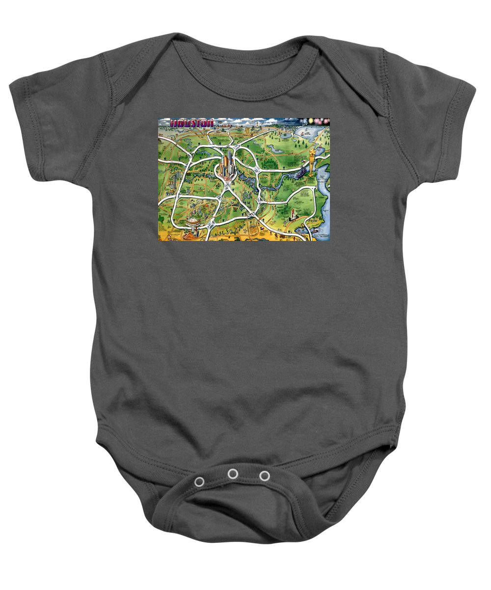 Houston Baby Onesie featuring the painting Houston Texas Cartoon Map by Kevin Middleton