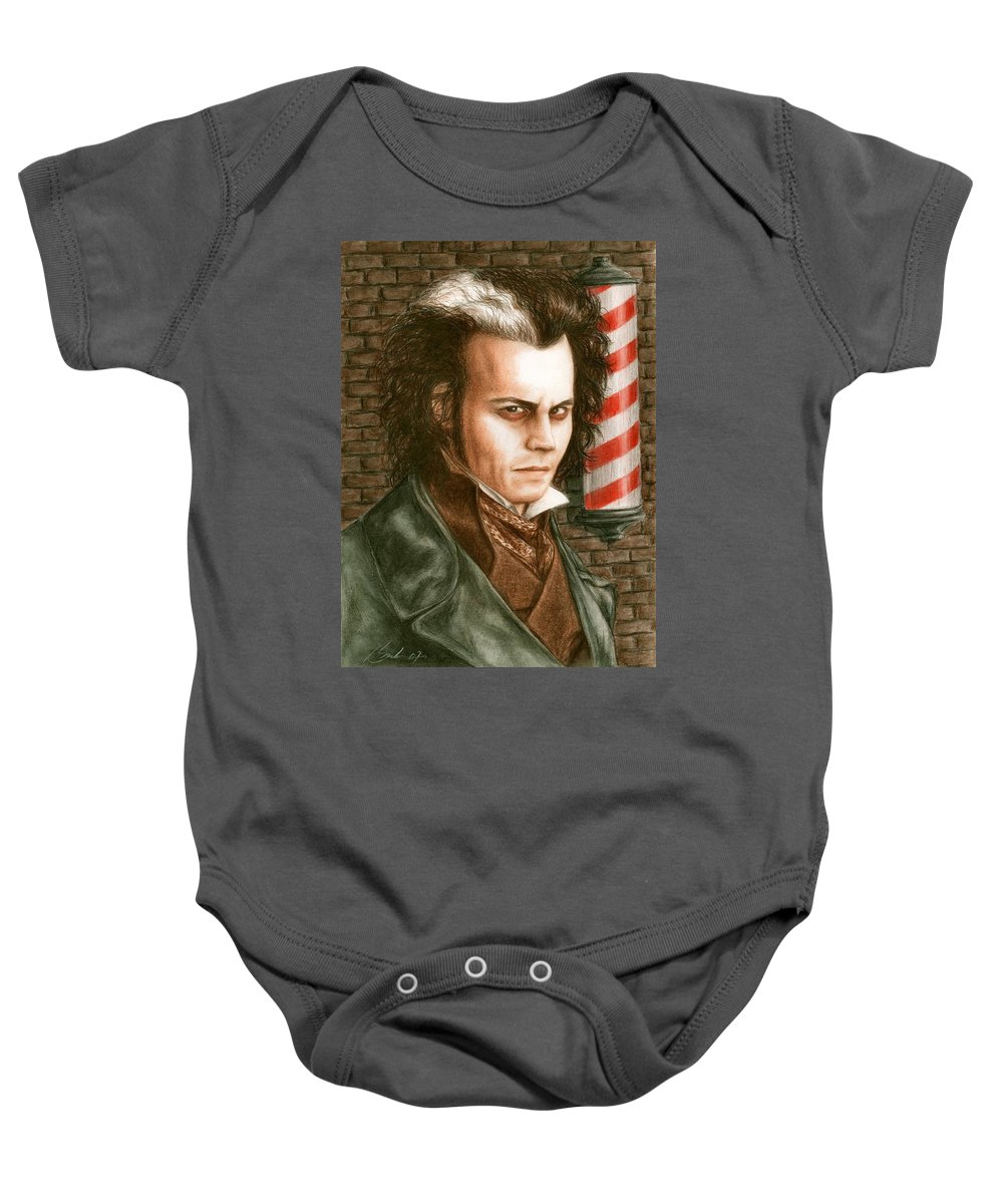 Sweney Todd Johnny Depp Bruce Lennon Art Baby Onesie featuring the painting How About A Shave by Bruce Lennon