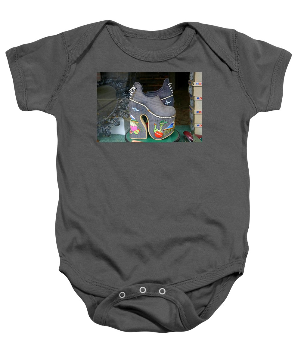 Shoes Baby Onesie featuring the photograph How Much Are Those Shoes In The Window by Minaz Jantz