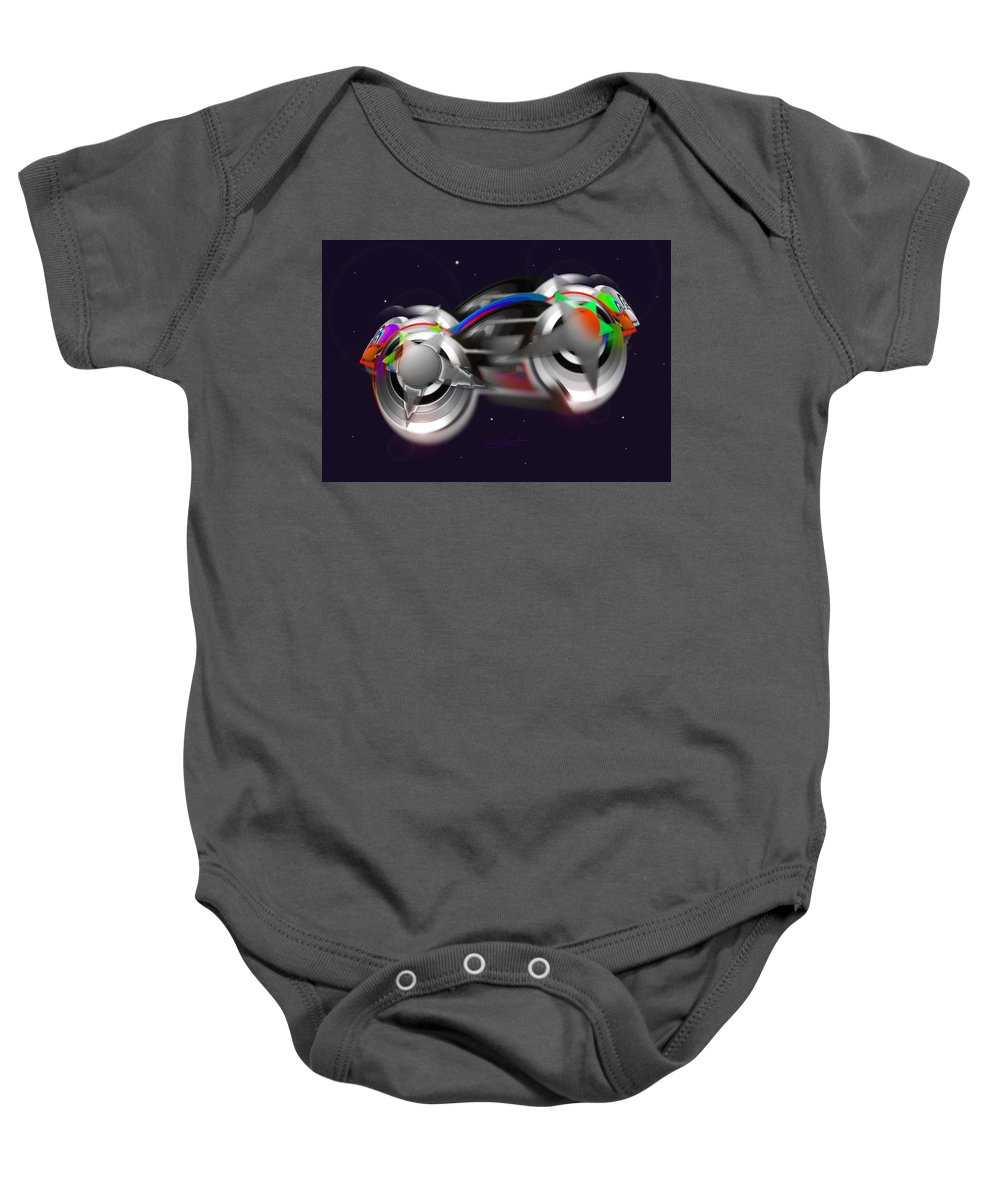 Spaceship Baby Onesie featuring the painting Howard's Way by Charles Stuart