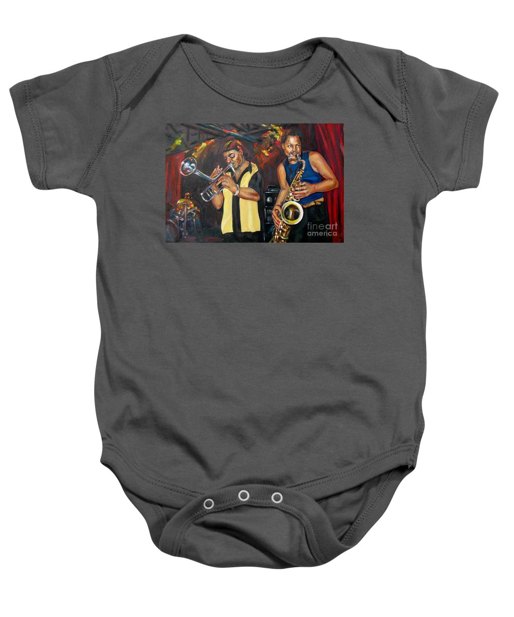 Musician Baby Onesie featuring the painting Hud N Lew/ The Daddyo Brothers by Beverly Boulet