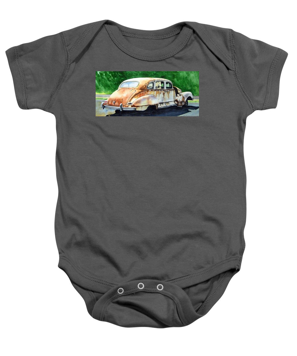 Hudson Car Rust Restore Baby Onesie featuring the painting Hudson Waiting For A New Start by Ron Morrison