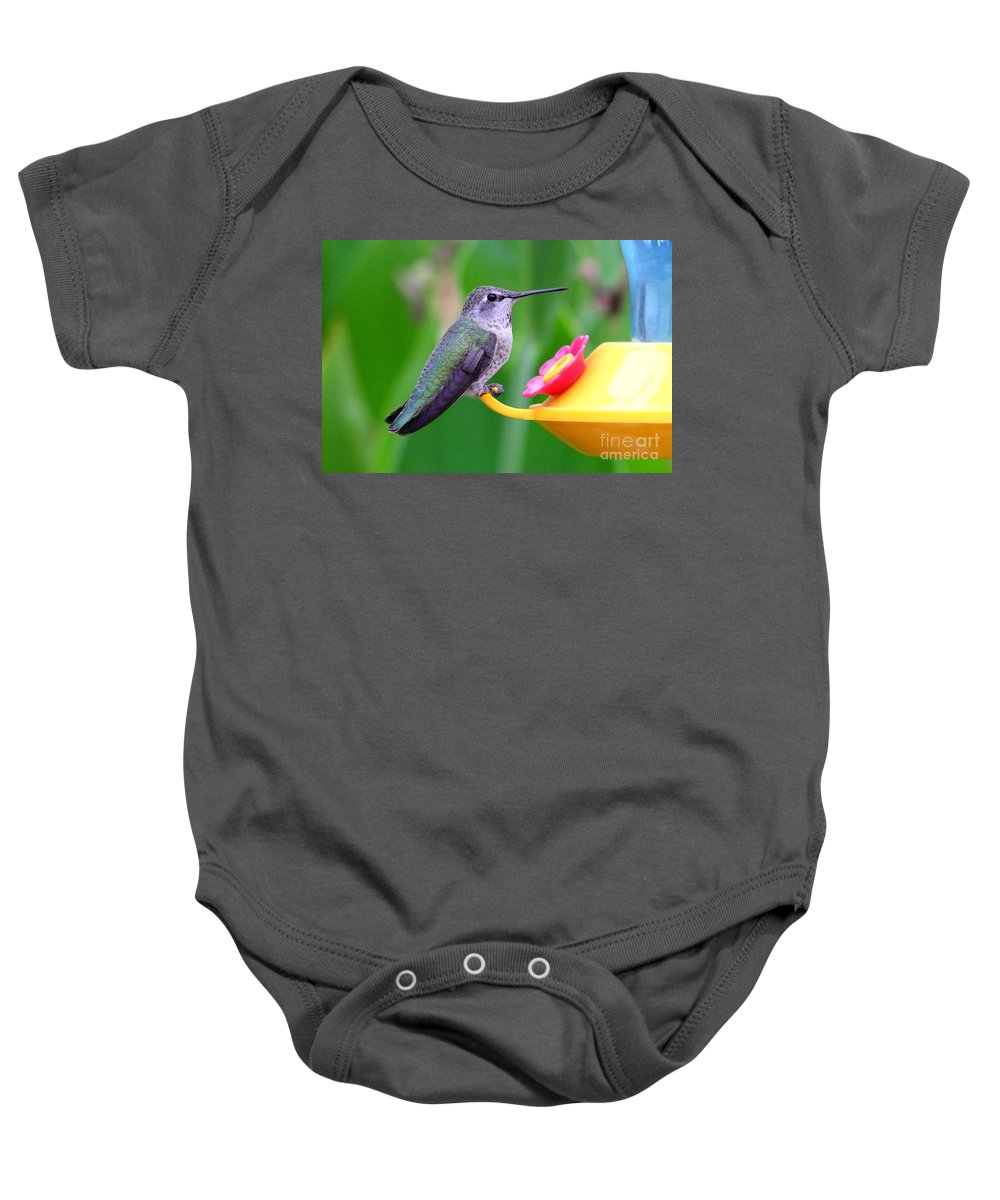 Green Baby Onesie featuring the photograph Hummingbird 32 by Mary Deal