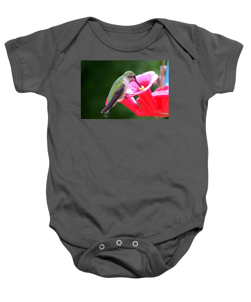 Red Baby Onesie featuring the photograph Hummingbird 33 by Mary Deal