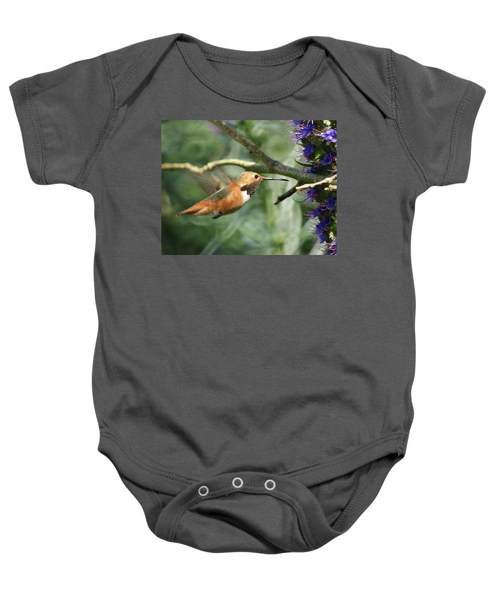 Hummingbirds Baby Onesie featuring the photograph Hummingbird by Ernie Echols