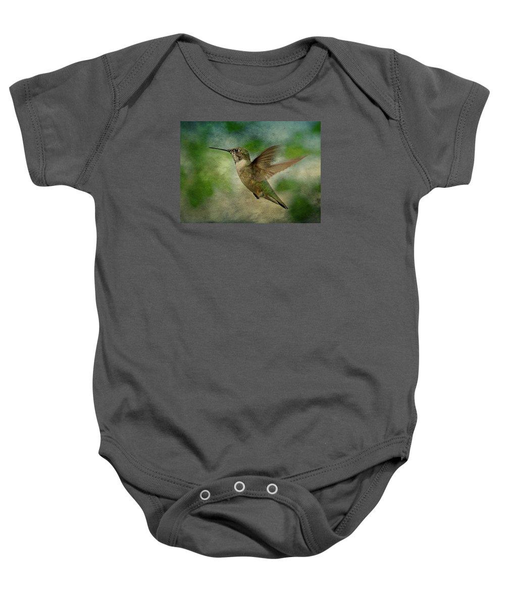 Hummingbird Baby Onesie featuring the photograph Hummingbird In Flight II by Sandy Keeton